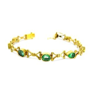 Jewelry - 18 Karat Yellow Gold Emerald Ladies Bracelet